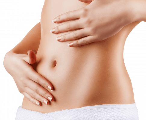 woman rubbing progesterone cream on belly transp crop